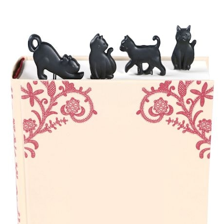 Prowling Black Cat Clip-On Bookmarks - Set of 4
