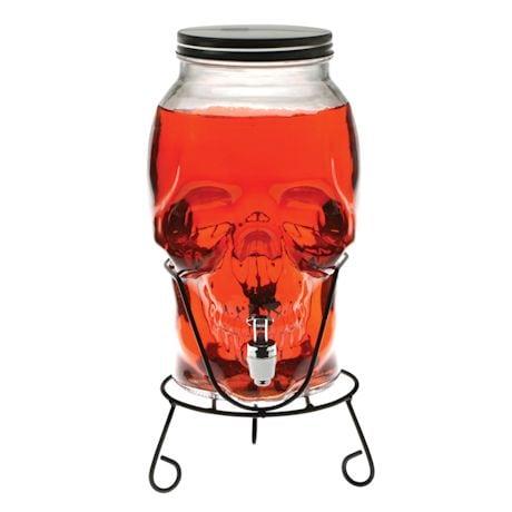 Skull Shaped Glass Beverage Dispenser - 5 Liter Capacity