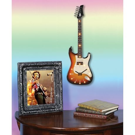 "Electric Guitar LED Lighted Clocks - 22"" Long"
