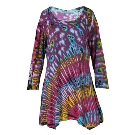 Tie-Dyed ¾ Sleeve Tunics - Purple