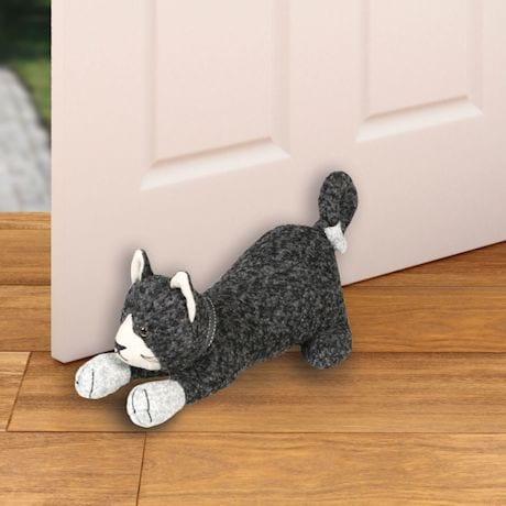 Stretching Cat Wool Fabric Door Stop