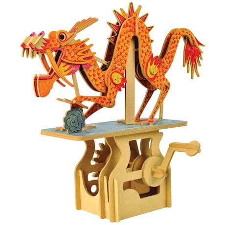 Wooden Mechanical Moving Dragon Puzzle - Crank Operated