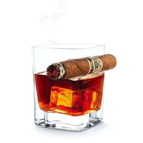 Cigar-Rest Rocks Glass