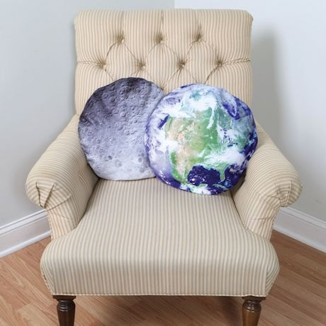 Earth & Moon 18in. Round Throw Pillow Cover Set