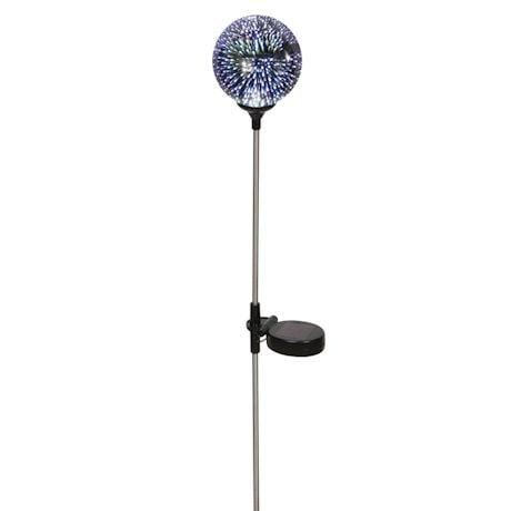 LED Lighted Stargazing Garden Stake - Solar Powered Mercury Glass Globe - 24'