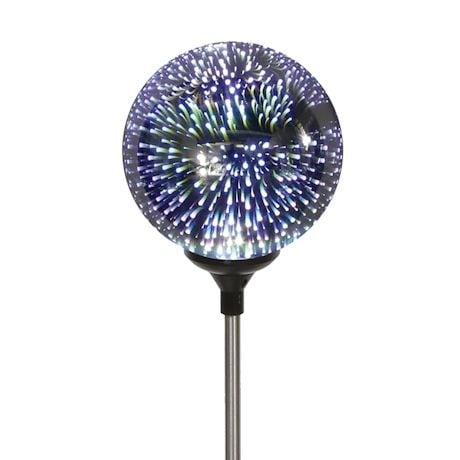 LED Lighted Stargazing Garden Stake - Solar Powered Mercury Glass Globe - 24""