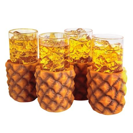 Jeray Pineapple Cup Holders & Highball Glasses - Set of 4 Each - Realistic Design