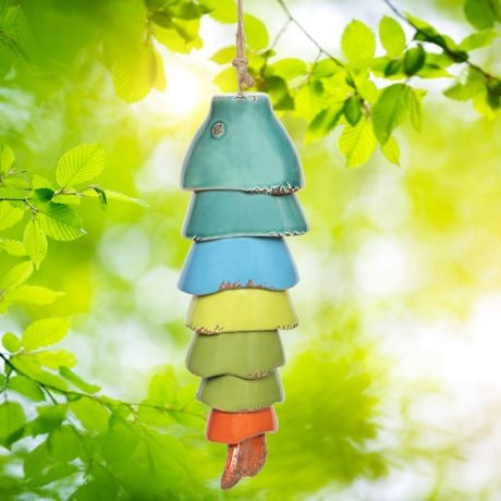 Ceramic Rainbow Koi Fish Wind Chimes