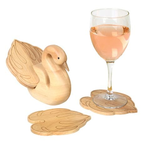 Wooden Swan Coaster Holder