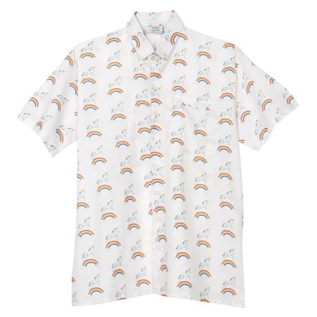 Unicorn Print Short Sleeve Button Down Top