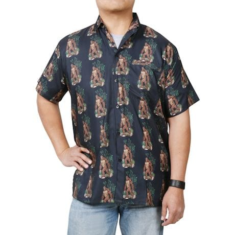 Men's Bigfoot Print Camp Shirt - Short Sleeve Button Down