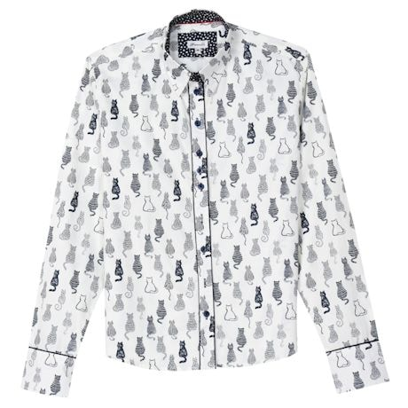Women's Cat Print Oxford Top - Black & White Button Down