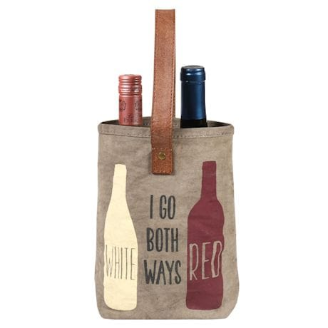 """""""I go both ways"""" Red & White Wine Carrying Tote"""