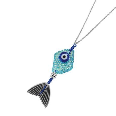 Colored Stone Fish Pendant Necklace