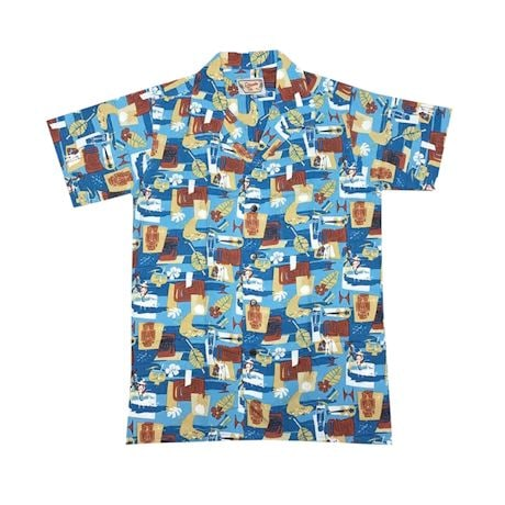 Aqua Tiki Mask Camp Shirt
