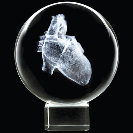 Laser Etched Human Heart Crystal Sphere