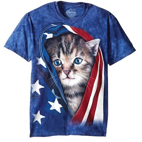 Cat & Dog American Flag T-shirt