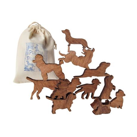 Wooden Stack The Animal Game - 12 Dog or Cat Pieces with Storage Bag