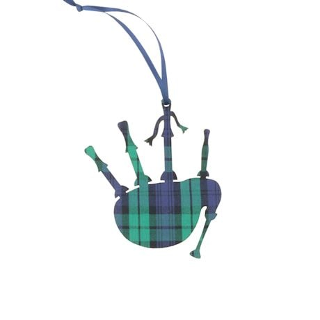 Black Watch Plaid Bagpipes Ornament