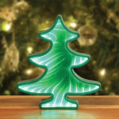 Light-Up Christmas Tree Mirror Tunnel