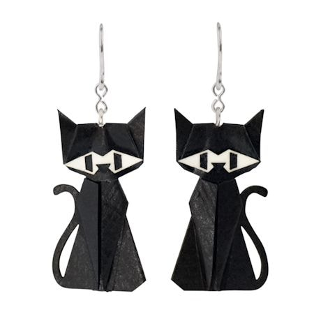 Sterling And Paper Cat Earrings