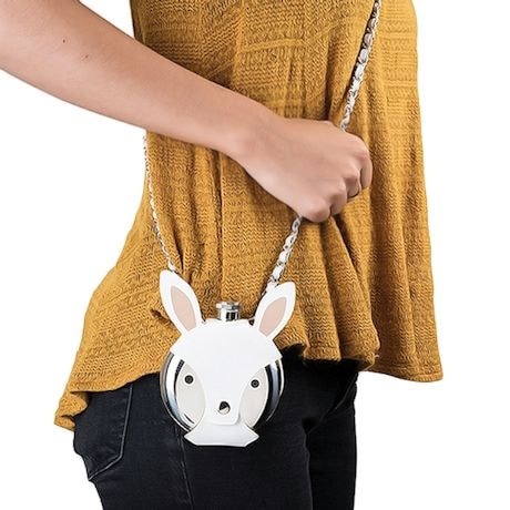 Wearable Animal Flask - Faux Leather Crossbody Strap & Cover with 5 oz. Stainless Steel Flask