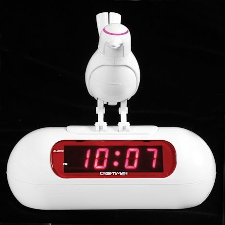 White Robot Bird Digital Alarm Clock