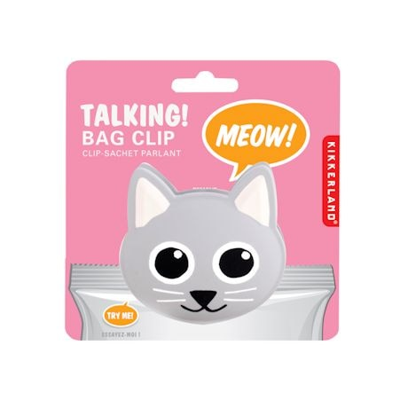 Set Of 3 Meowing Cat Bag Clips