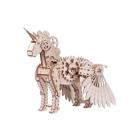 Mr. Playwood Wooden Mechanical Unicorn Puzzle Model