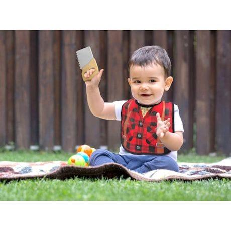 Fisherman or Lumberjack Baby Teether And Bib