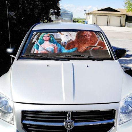 Mermaid, Unicorn & Bigfoot Car Sunshade