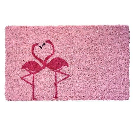 Hand-stenciled Flamingo Doormat