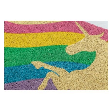 Hand-stenciled Unicorn Doormat