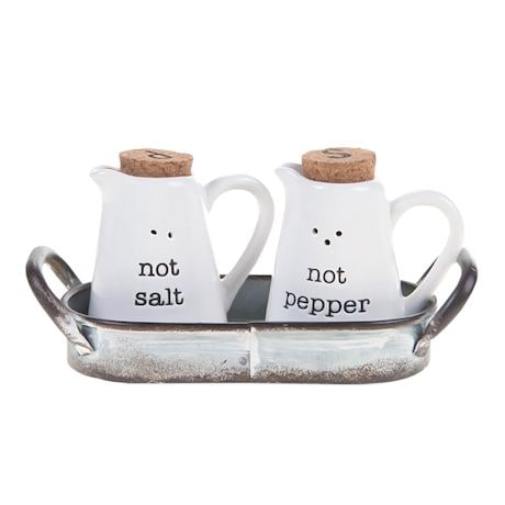 Not Salt & Not Pepper Shakers With Caddy