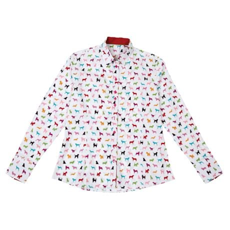 Colorful Dogs Button-Down Blouses