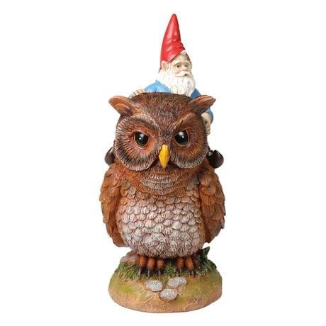 Owl-Rider Gnome Garden Sculpture