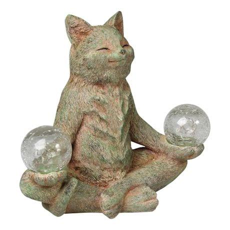 Solar Meditating Cat Garden Sculpture