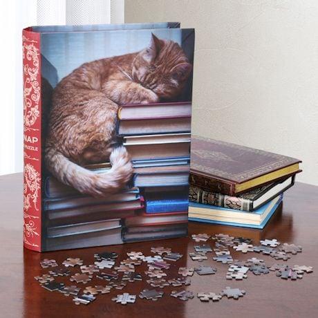 Cat Nap Puzzle In Bookshelf Box