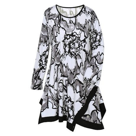 Black and White Floral Swing Top