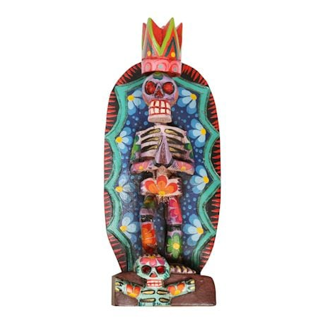 Day Of The Dead Handcrafted Wood Statue