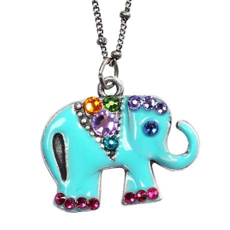 Aqua Enamel Elephant Necklace