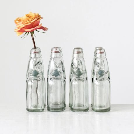 Decorative Vintage Reproduction Glass Soda Bottle - set of 4