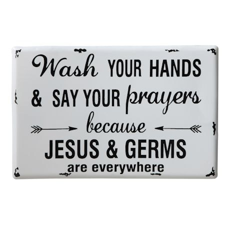 Jesus & Germs Metal Wall Decor