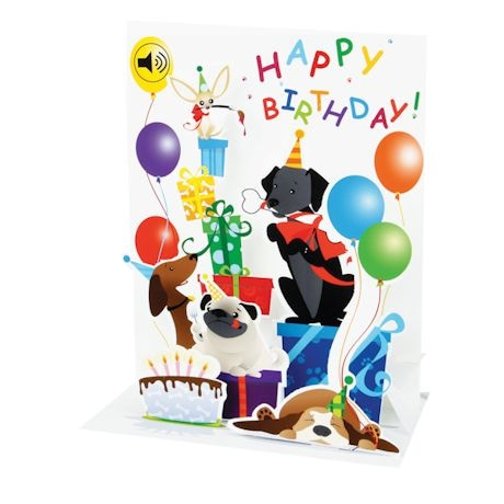 Happy Birthday Mutt Party Pop-Up Sound Card