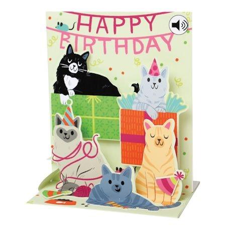 Feline Fine Happy Birthday Pop-Up Sound Card