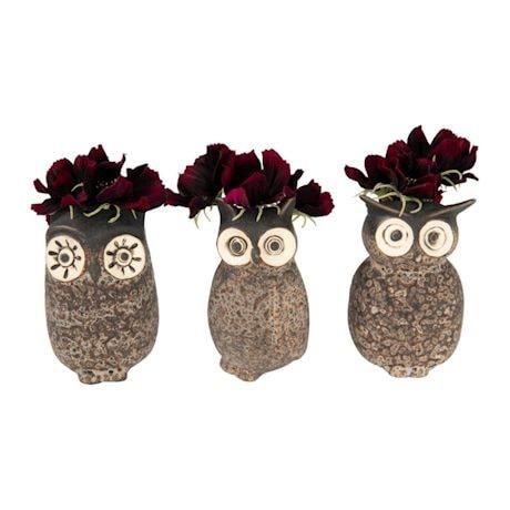 Stoneware Owl Planter/Vase Set