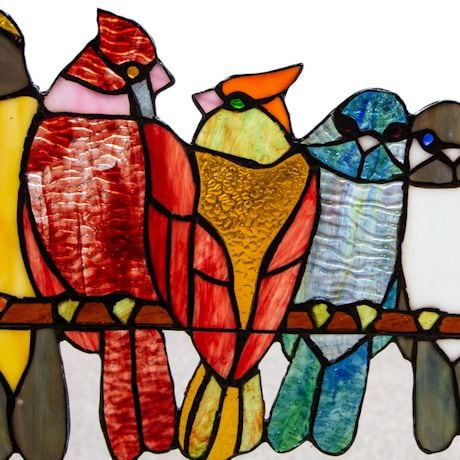 Birds In Love Stained Glass Window Panel