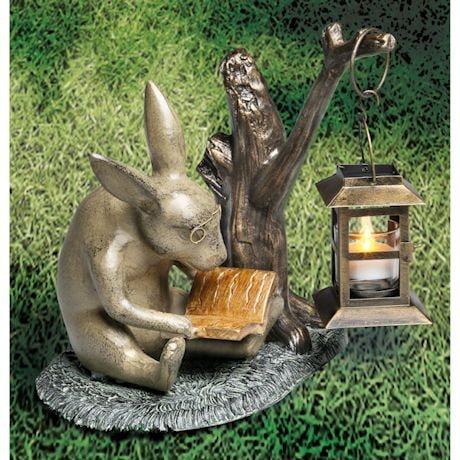 Book Lover Rabbit Garden Lantern