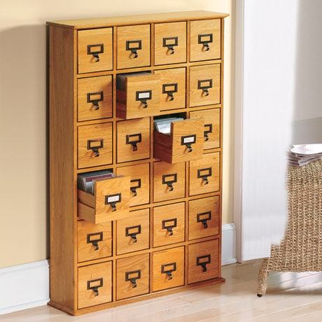 Library Style CD Storage Cabinet with 24 Drawers - Holds 288 CDs