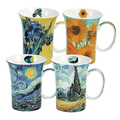 Bone China Van Gogh Mugs Gift Boxed Set of 4